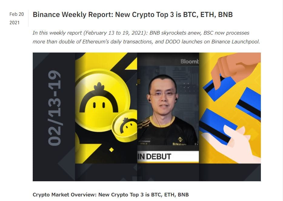 Binance Weekly Reportのキャプチャー